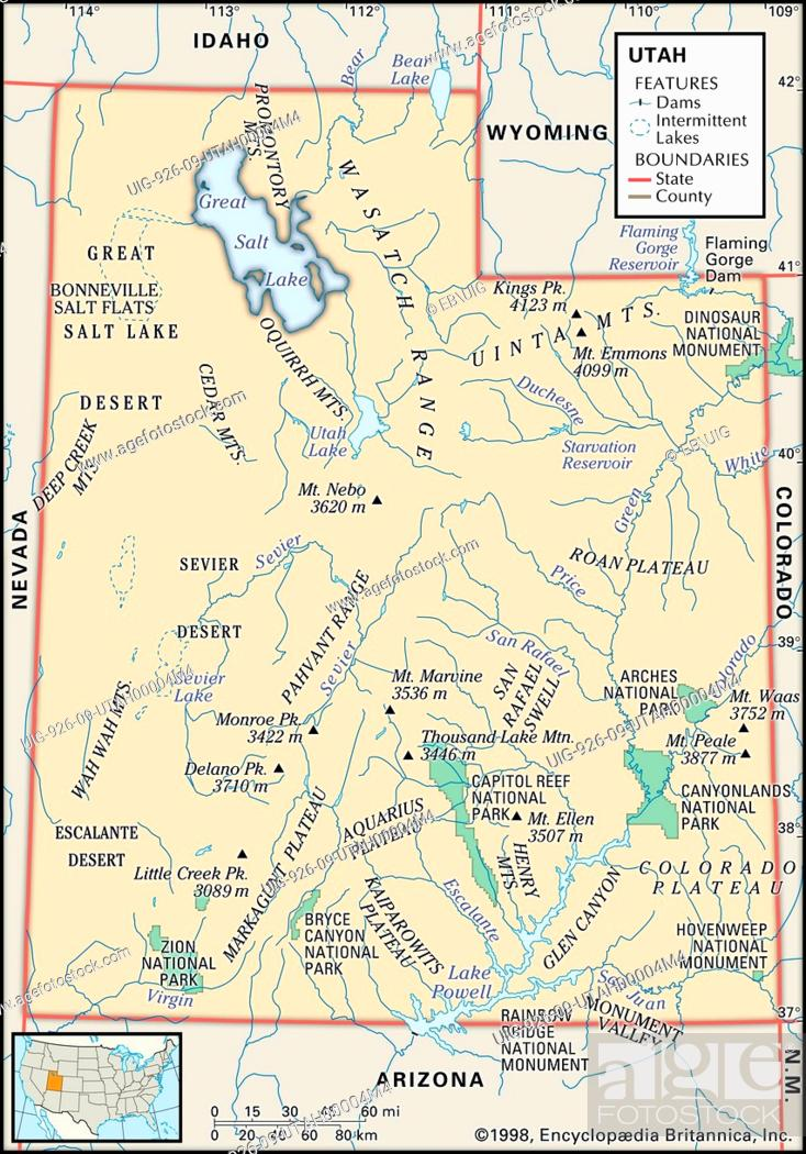 Physical map of the state of Utah showing national parks, mountains ...