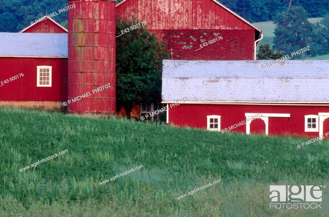 Stock Photo: Red barns in spring. Pennsylvania, USA.