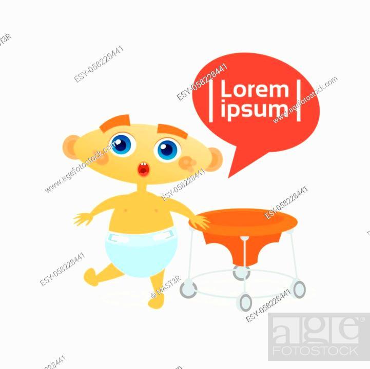 Stock Vector: Cute Baby Boy Toddler Happy Cartoon Infant In Diaper Flat Vector Illustration.