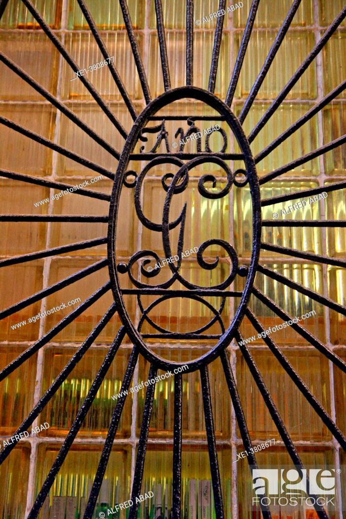 Stock Photo: wrought iron window grille, Barcelona, Catalonia, Spain.