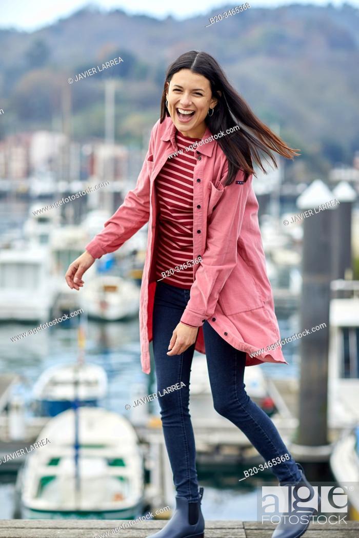 Stock Photo: Mid-adult woman, Marina, Pasai Donibane, Pasaia Port, Gipuzkoa, Basque Country, Spain, Europe.