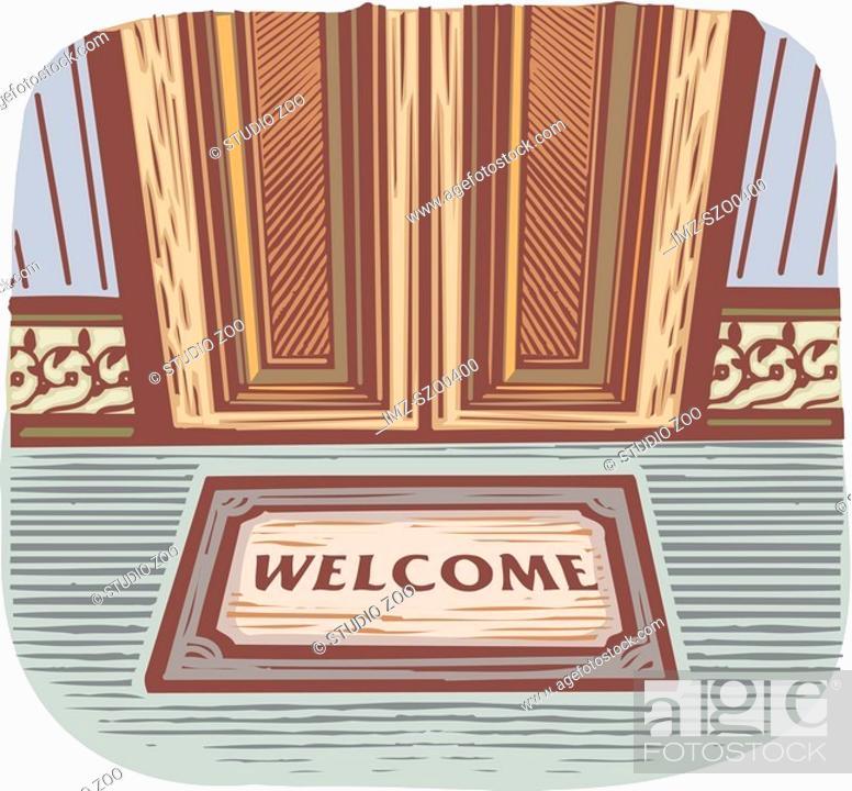 Stock Photo: Welcome mat in front of a door.