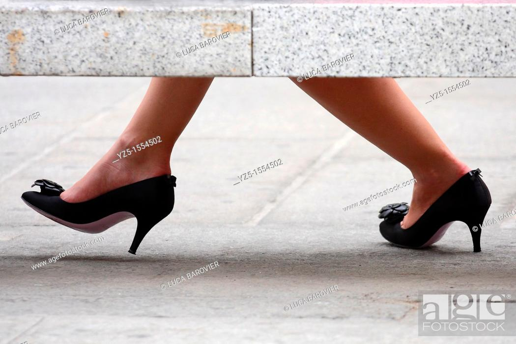 Stock Photo: Women's black shoes.