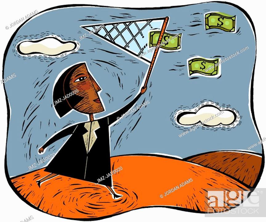 Stock Photo: An illustration of a businesswoman catching money using a net.