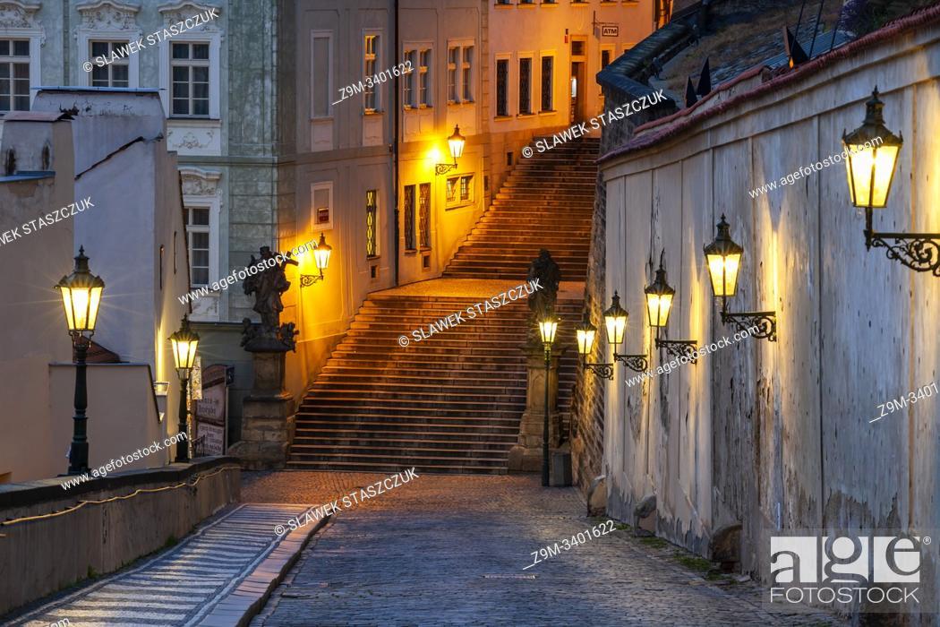 Stock Photo: Dawn in Hradcany, Prague, Czechia.