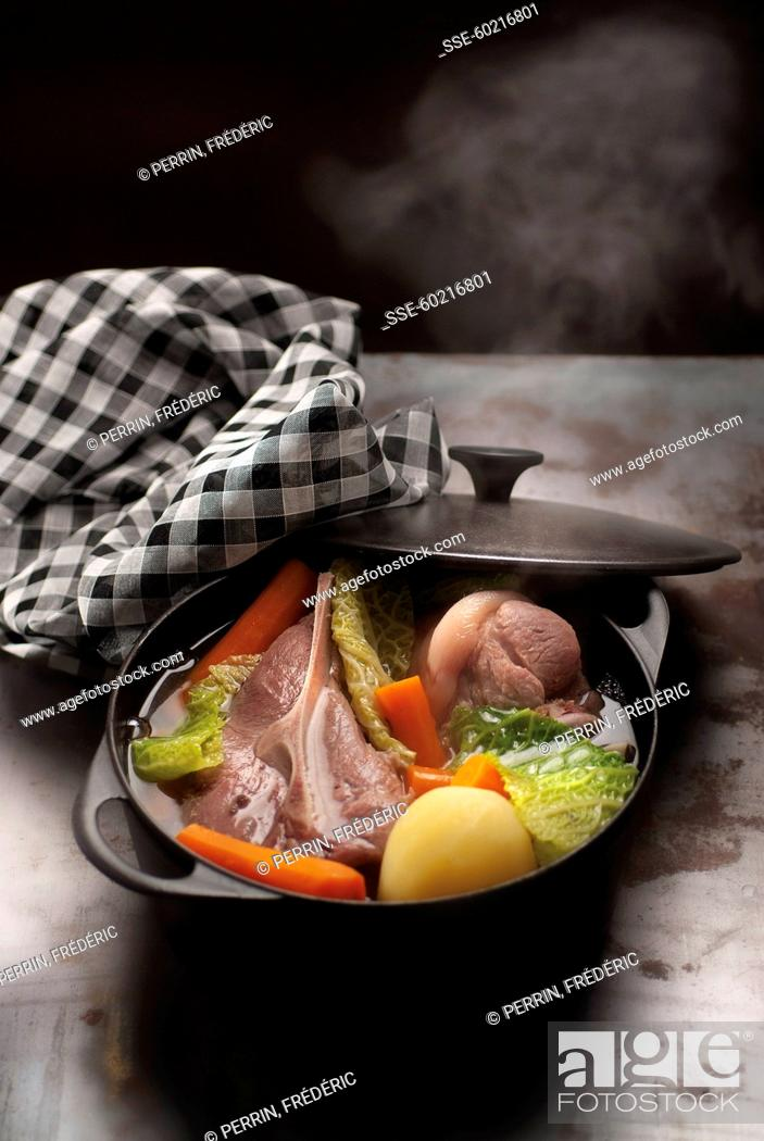 Steaming Pot Au Feu In A Casserole Dish Stock Photo Picture And
