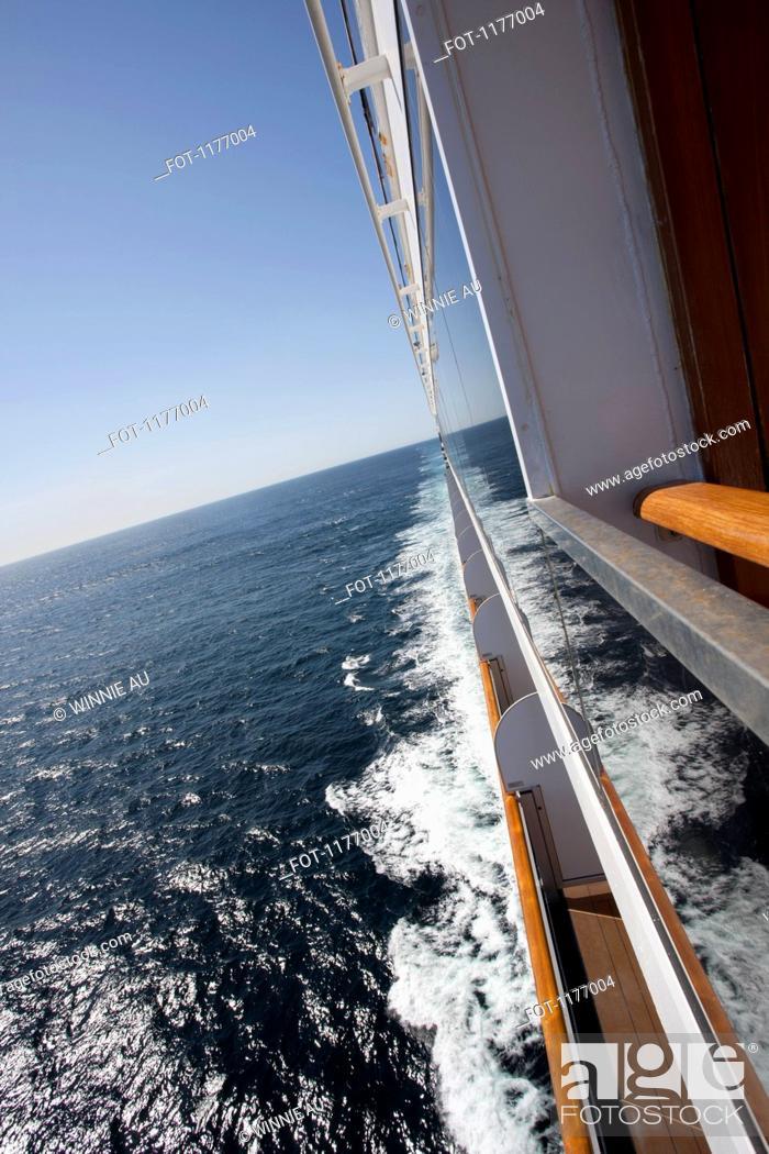 Stock Photo: View of the wake of a passenger ship traveling on the sea, Seattle, Washington, USA.