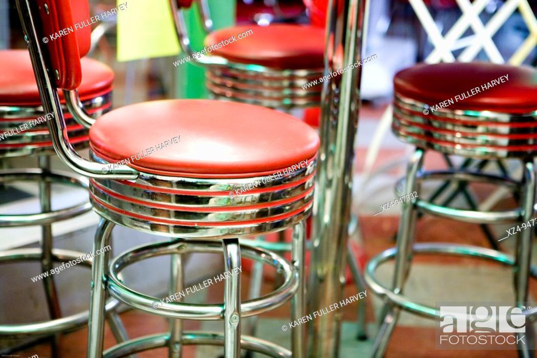 Stock Photo: seats at soda fountain.