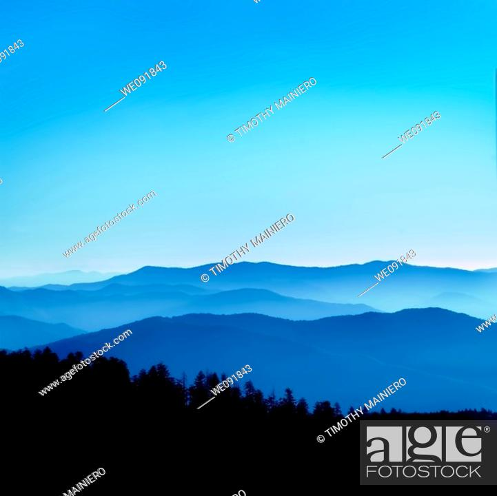 Stock Photo: View from Clingmans Dome, Great Smoky Mountains National Park, Tenessee.