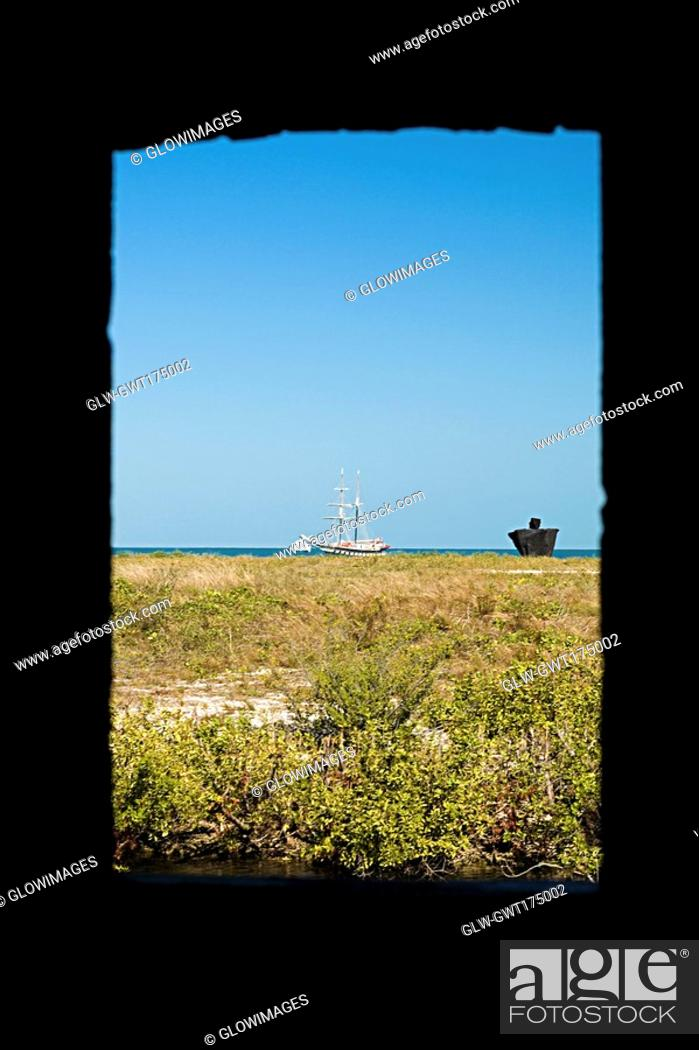 Stock Photo: Landscape as viewed from a window, Fort Zachary Taylor, Key West, Florida, USA.