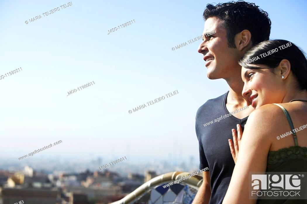 Stock Photo: Young couple enjoying view portrait.