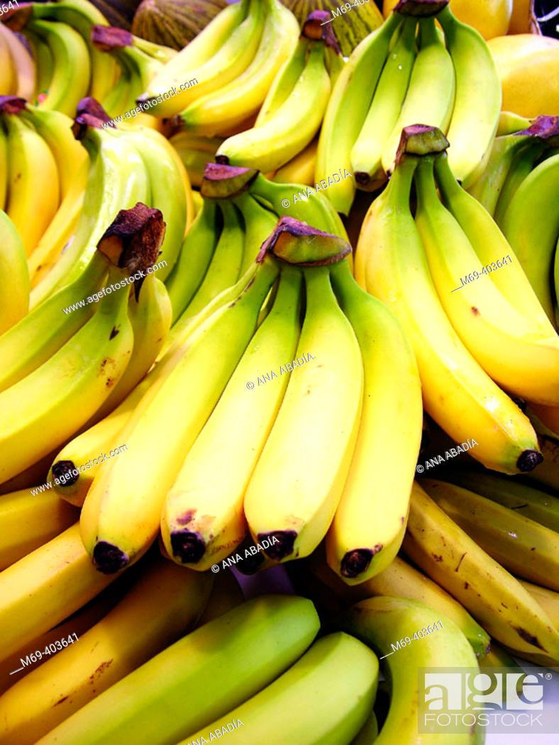 Stock Photo: Bananas. La Boquería market. Barcelona. Spain.