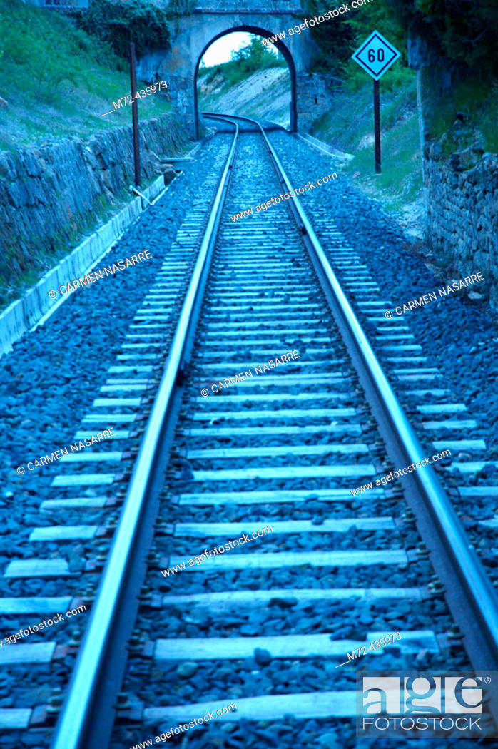 Stock Photo: FEVE tracks. Valderredible. Cantabria. Spain.