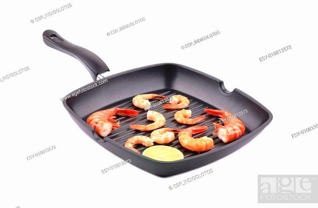 Stock Photo: Fresh boiled shrimps on frying pan.
