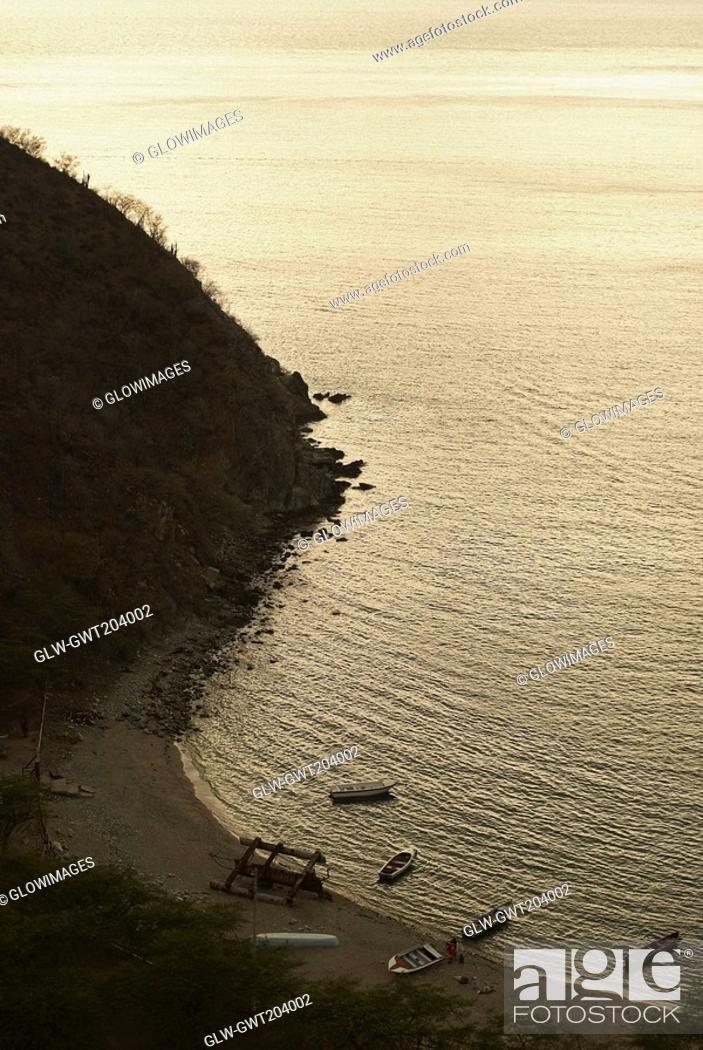 Stock Photo: High angle view of a beach, Taganga Bay, Magdalena, Colombia.