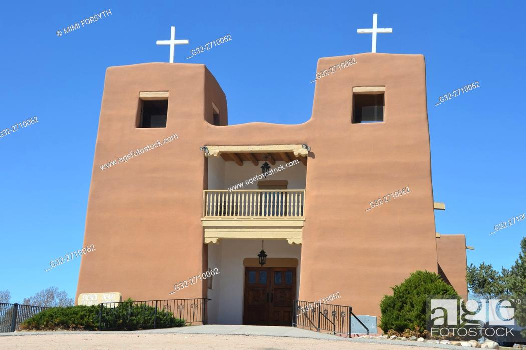 Stock Photo: Sacred Heart church, Nambe, New Mexico, USA.