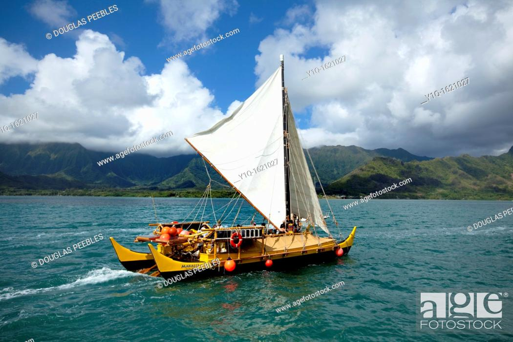 Stock Photo: Makali'i, Hawaiian sailing canoe Kaneohe Bay, Oahu, Hawaii.