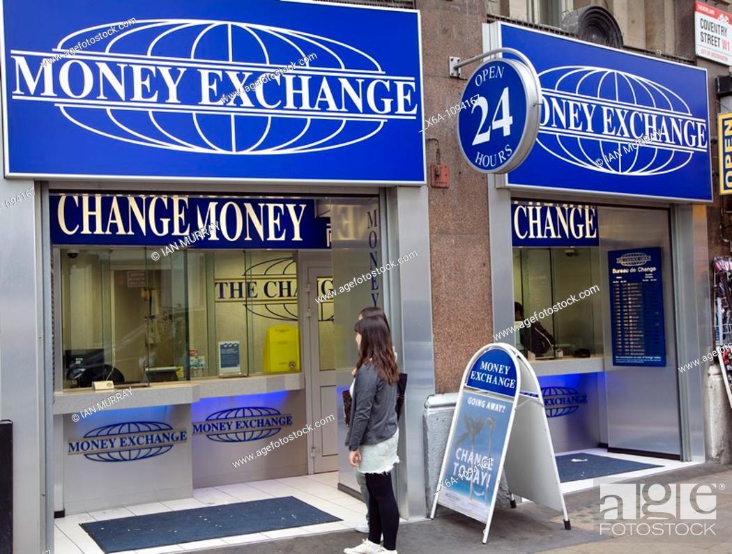 Stock Photo Money Exchange Change Signs London England