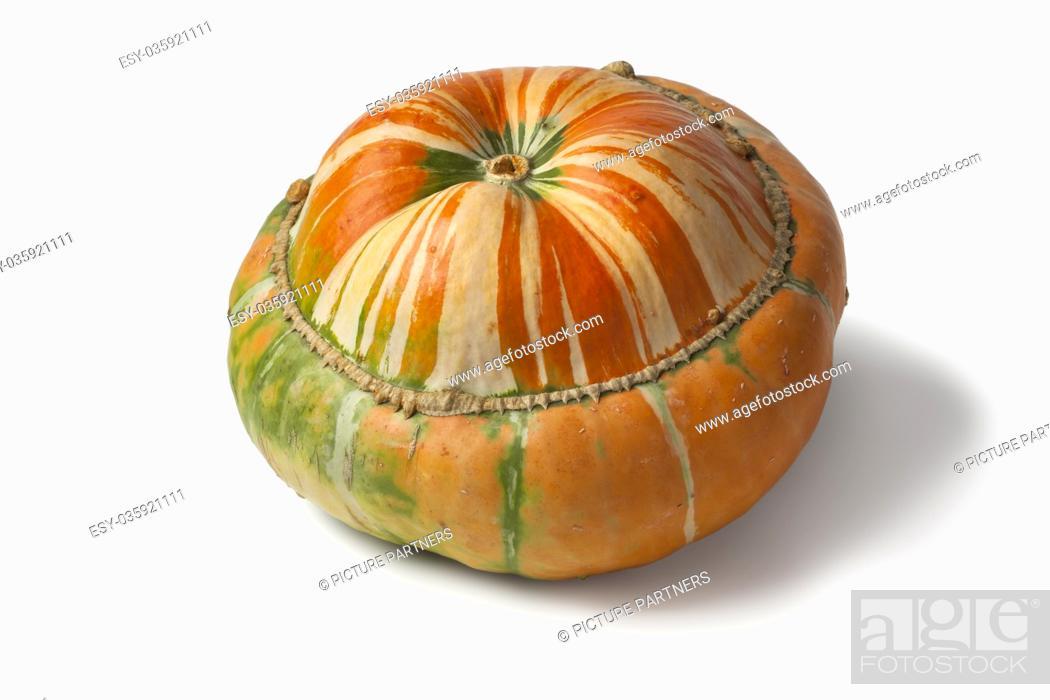 Photo de stock: Fresh heirloom orange Turban squash on white background.