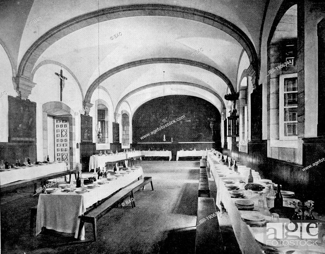 Stock Photo: One of the first autotype photographs of the refectory of the Monastery of Loyola, Spain, circa 1880.