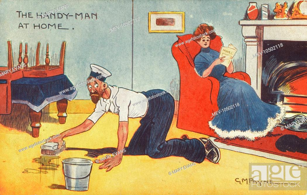 The Handy-man at home' An Emancipated Woman reads happily by