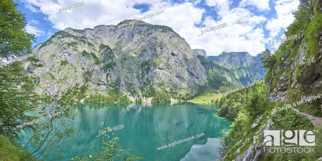 Stock Photo: Landscape of the Obersee lake, Berchtesgadener Land, Bavaria, Germany, Europe.