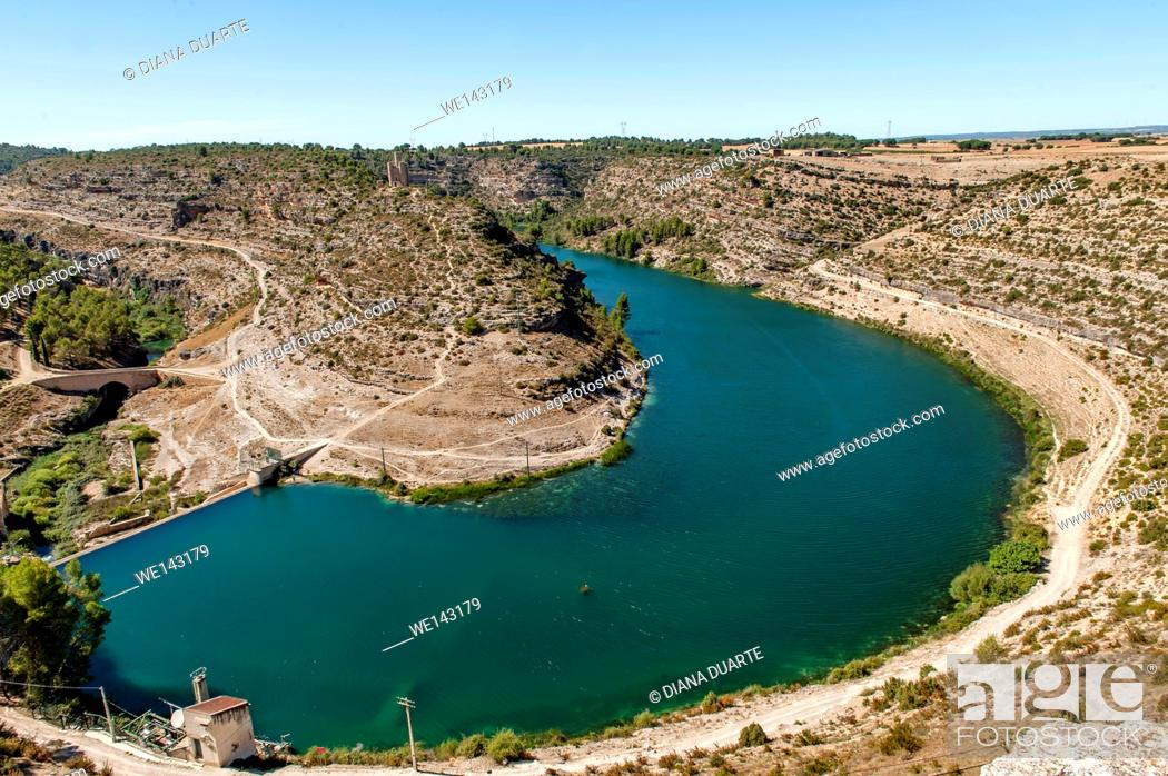 Stock Photo: The town of Alarcón is located amid the steep gorges that flank the Jucar river. Alarcón, Cuenca, Spain.