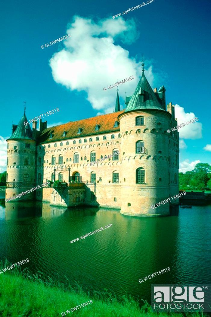 Stock Photo: Castle at the waterfront, Egeskov Castle, Funen County, Denmark.