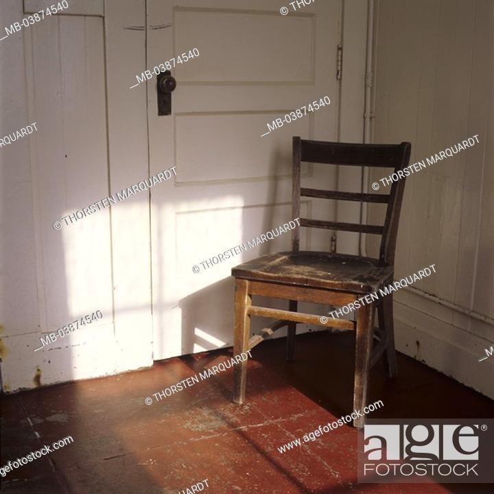 Wood-chair, old, door, locked, furniture, piece of furniture ...