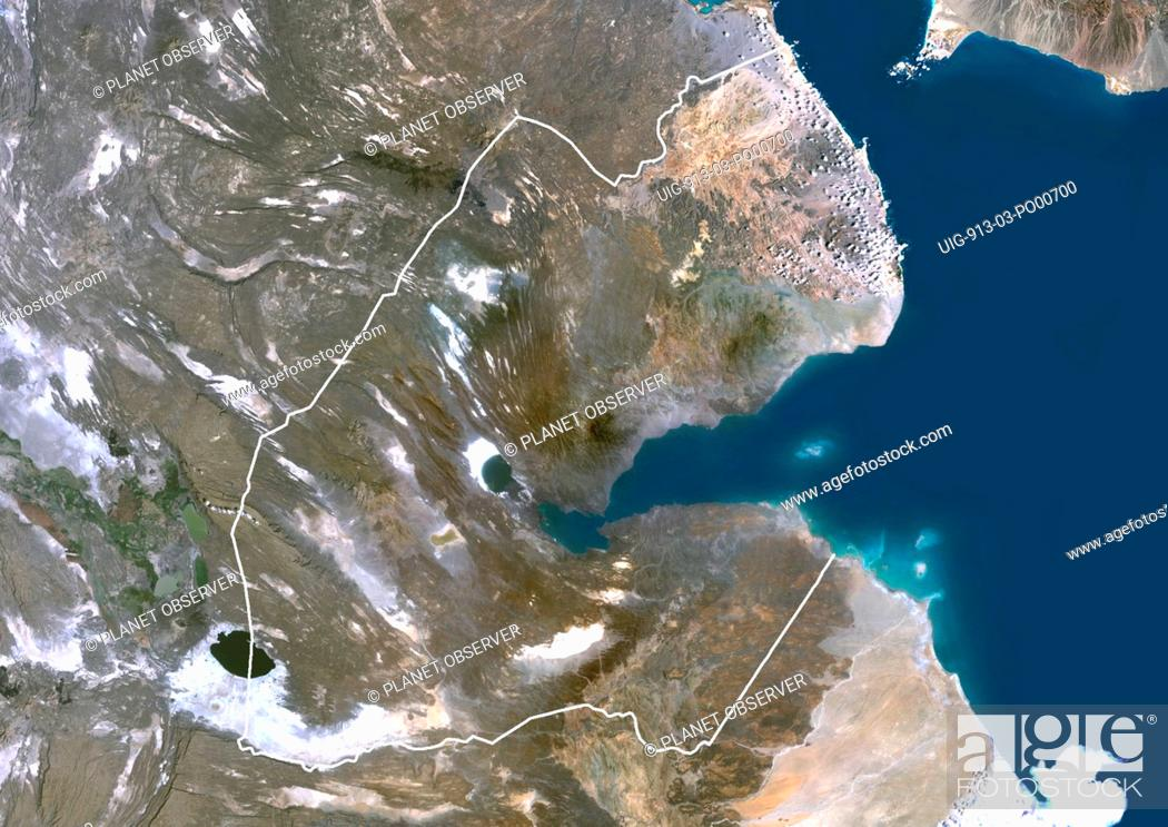 Djibouti, Africa, True Colour Satellite Image With Border ... on topo map of djibouti, political map of djibouti, sports of djibouti, detailed map of djibouti, terrain map of djibouti, outline map of djibouti, blank map of djibouti, world map of djibouti, street map of djibouti, physical map of djibouti, topographical map of djibouti,