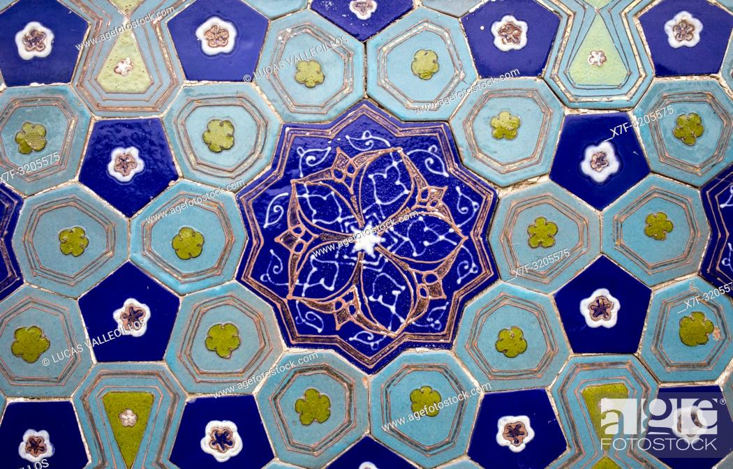 Stock Photo: Detail, ornamentation, Ulug Sultan Begim mausoleum, Shah-i-Zinda complex, Samarkand, Uzbekistan.