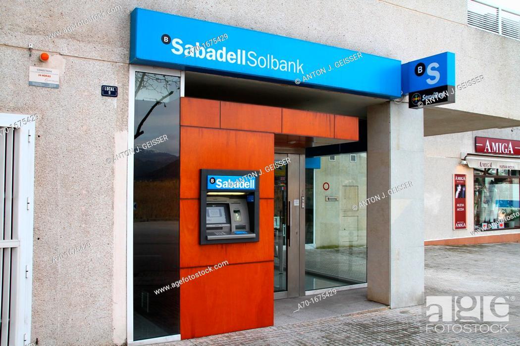 Stock Photo: Banco Sabadell , majorca , spain.