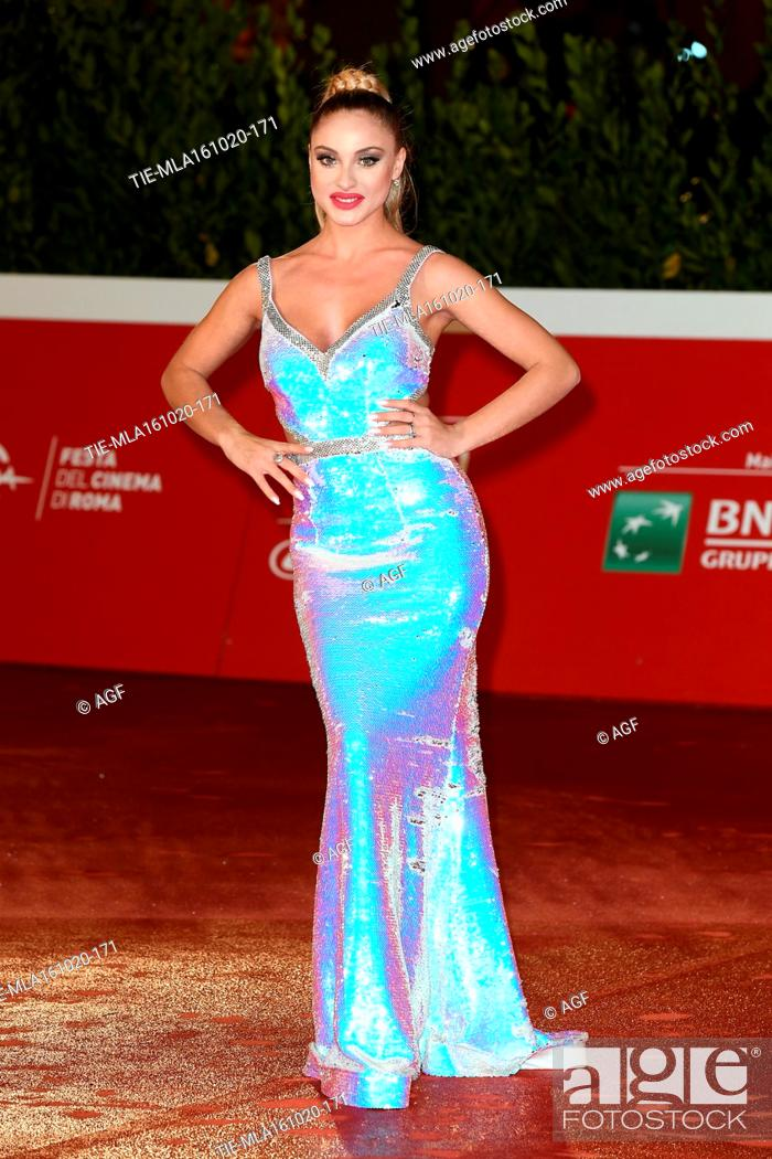 """Stock Photo: Tanya La Gatta attends the red carpet of the movie """"""""Supernova"""""""" during the 15th Rome Film Festival on October 16, 2020 in Rome, Italy."""