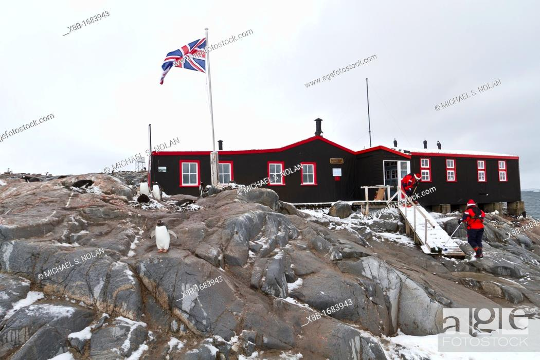 Stock Photo: View of British Base A research station at Port Lockroy on the western side of the Antarctic Peninsula, Southern Ocean.