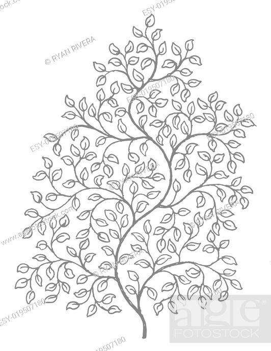 Stock Photo: Ornate, elegant curly vines illustration.