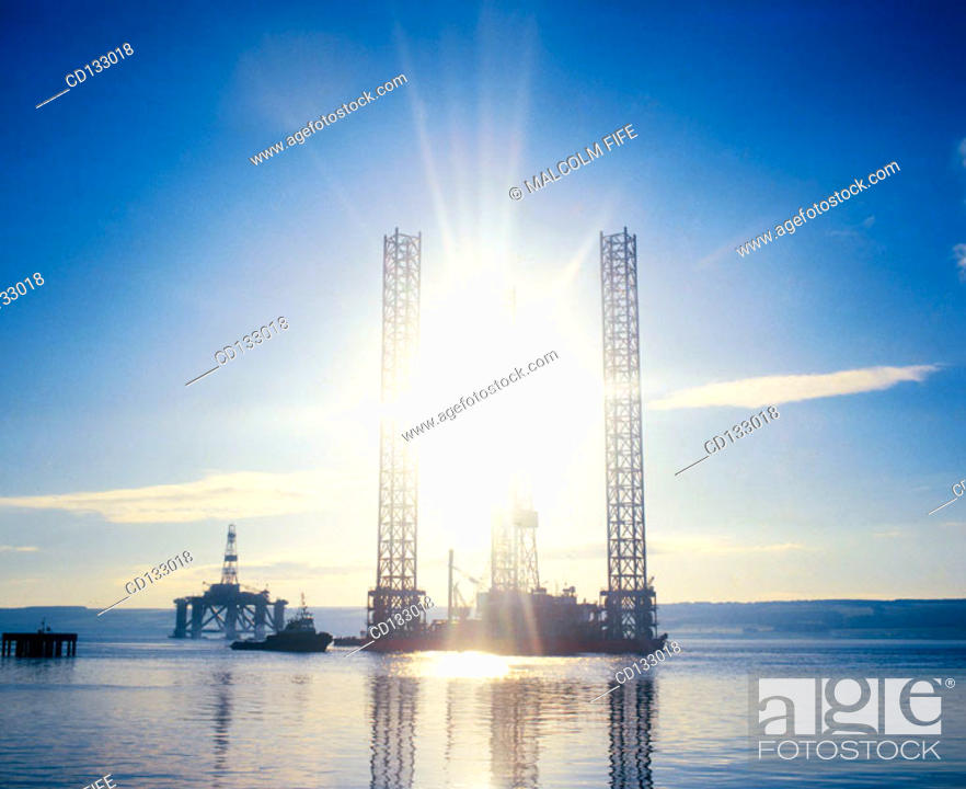 Stock Photo: Jack-up oil rig under tow. Cromarty Firth. Scotland.