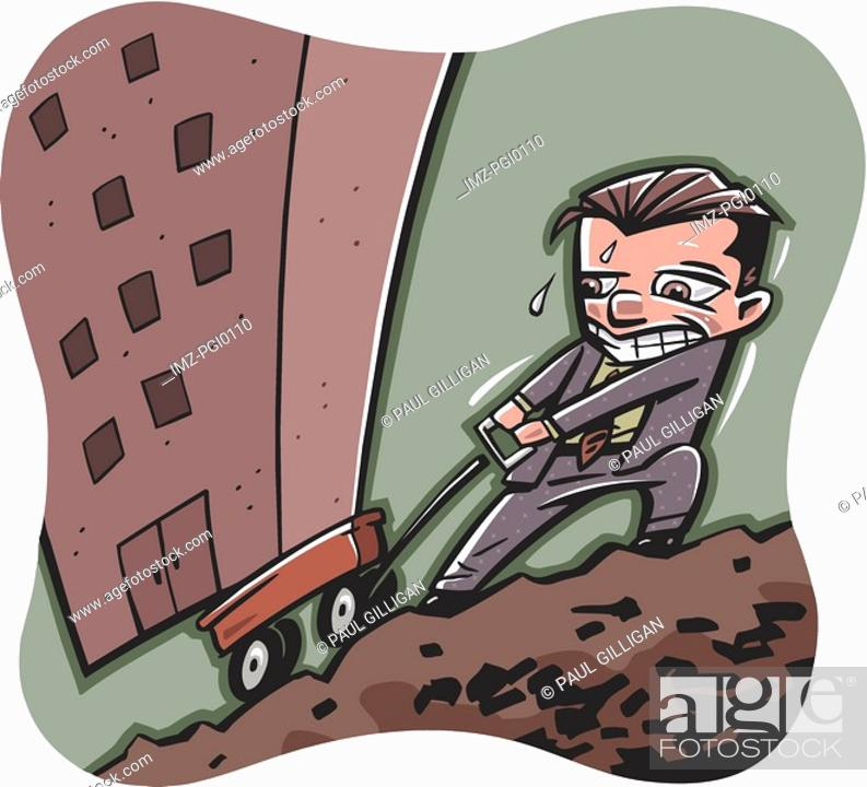 Stock Photo: businessman pulling a building uphill in a wagon.