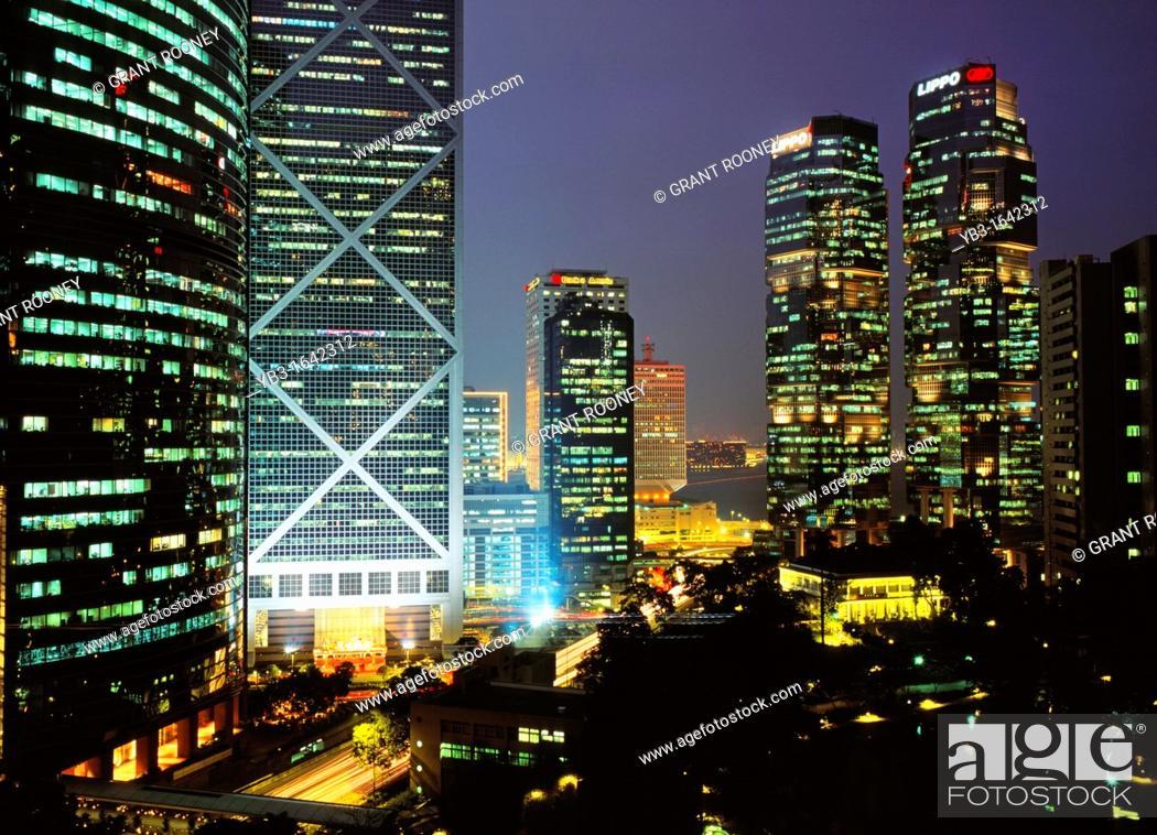 Stock Photo: Skyscrapers, Hong Kong, China.