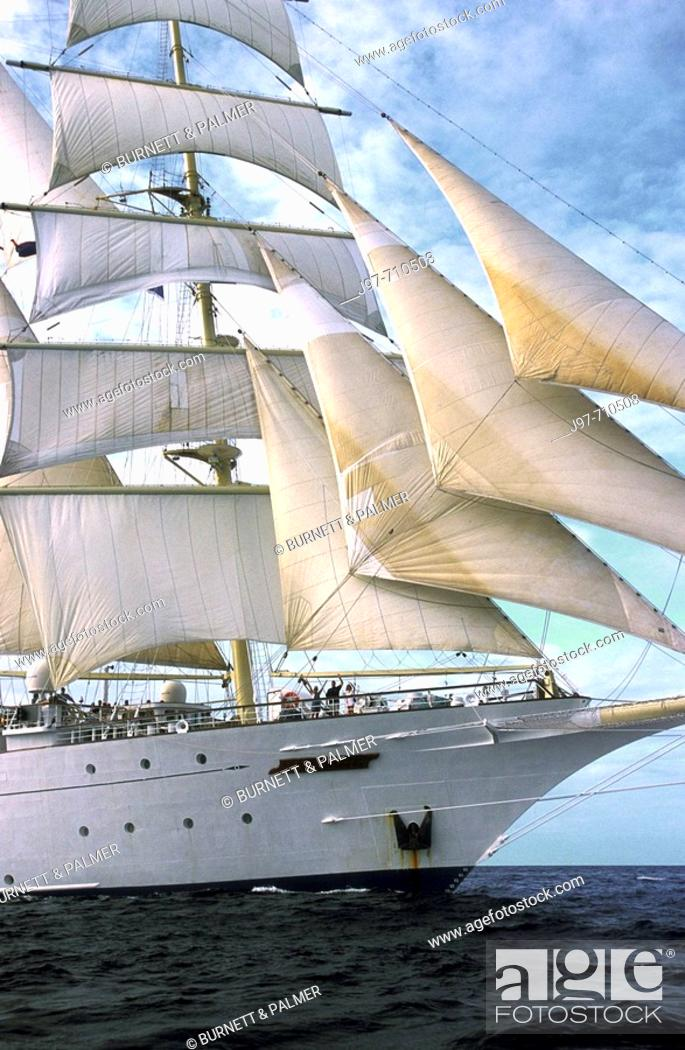 Stock Photo: The starborad bow of a clipper ship sailing on the Caribbean Sea off the Central American country of Honduras.