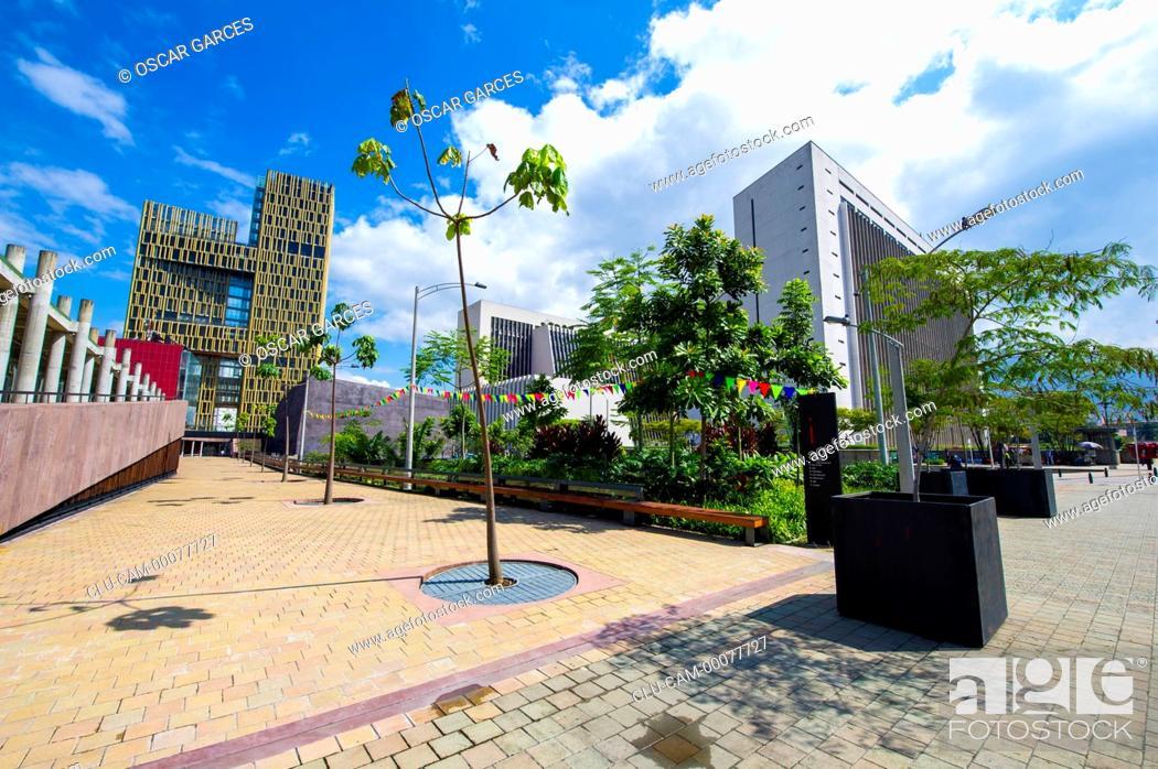 Stock Photo: Square of the Medellin Freedom, Medellin, Antioquia, Colombia.