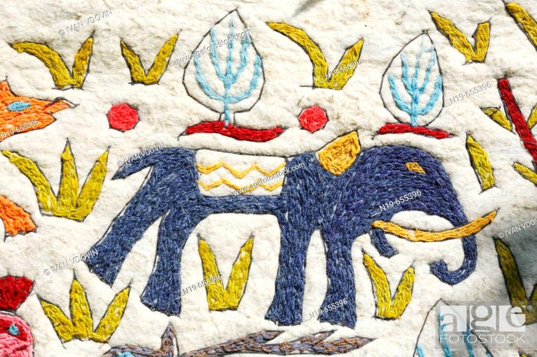 Elephant, handmade embroidery on wool material (early XX century