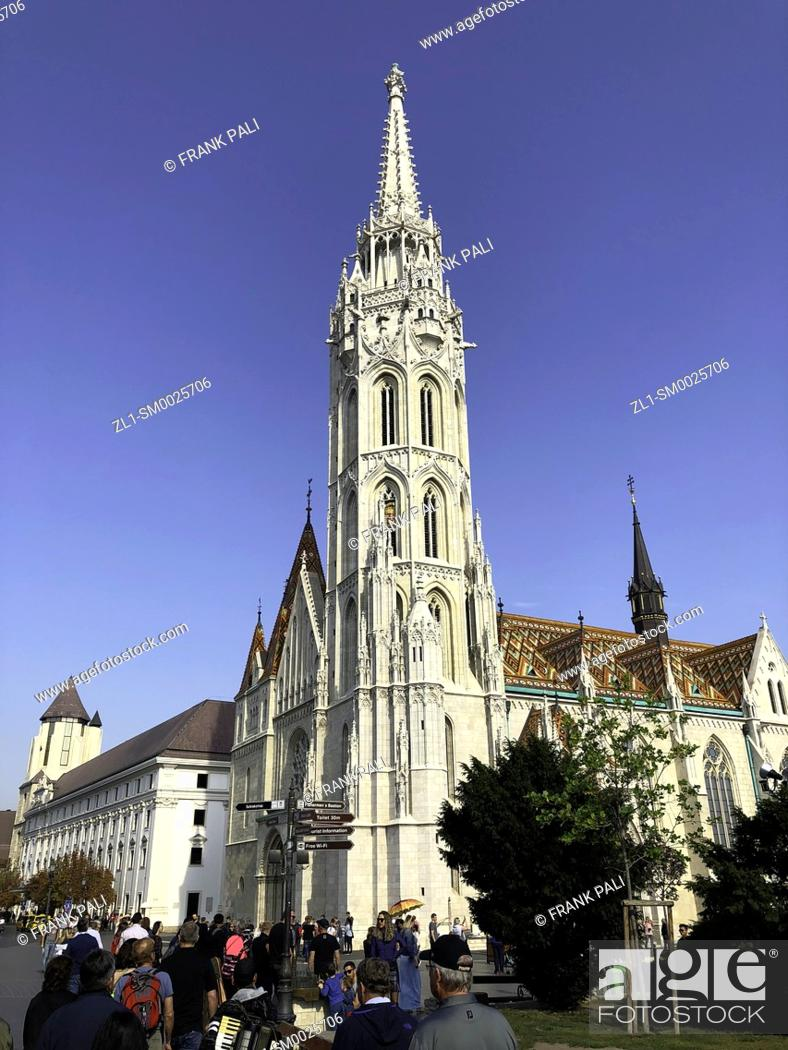 Stock Photo: Matthias Church is a Roman Catholic church located in Budapest, Hungary, in front of the Fisherman's Bastion at the heart of Buda's Castle District.