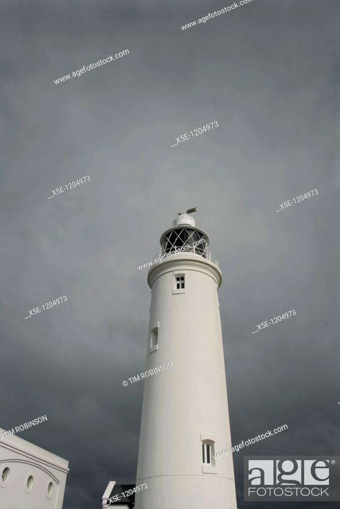 Stock Photo: Lighthouse at Hurst Castle, Hampshire, England.