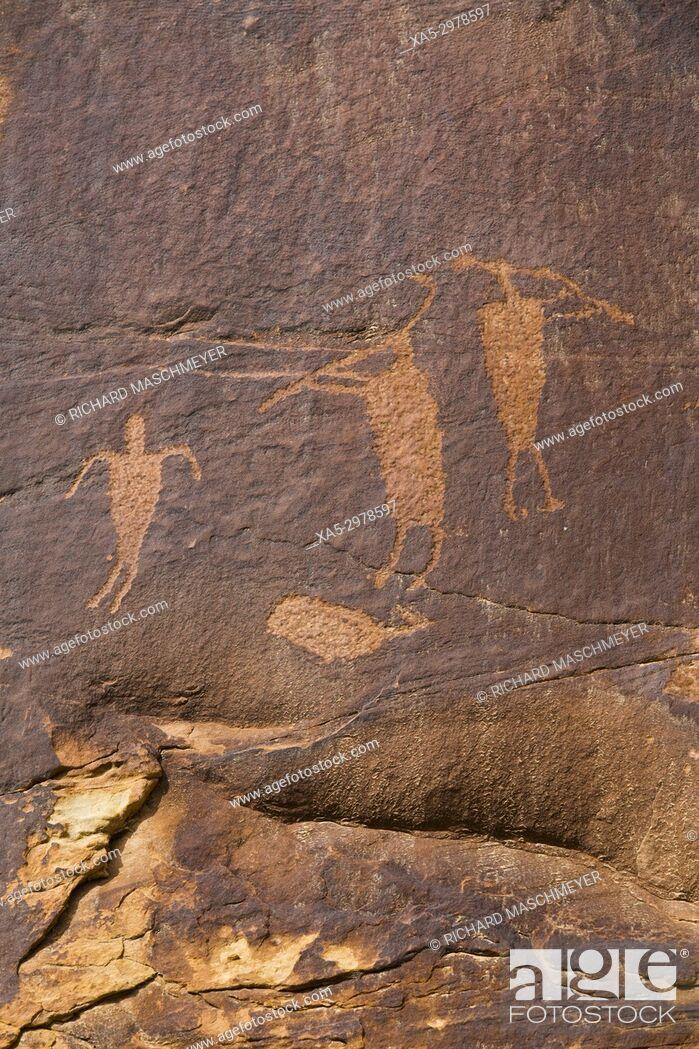 Stock Photo: Anasazi Petroglyphs, Shay Canyon, Utah, USA.