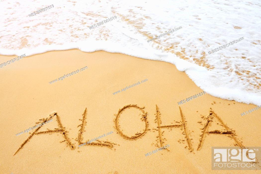 Usa Hawaii Maui Makena Beach State Park Aloha Drawn In