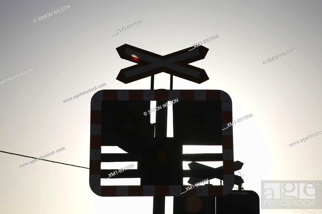 Stock Photo: Railway crossing signal.