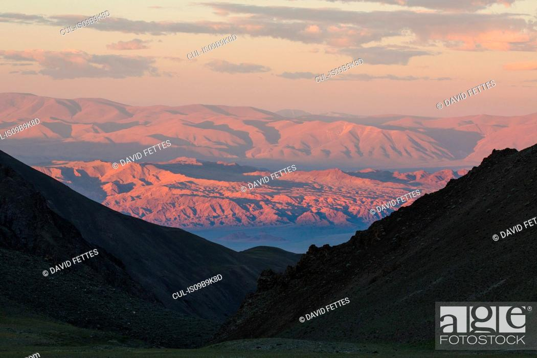 Stock Photo: Scenic view of Altai Mountains at sunrise, Khovd, Mongolia.