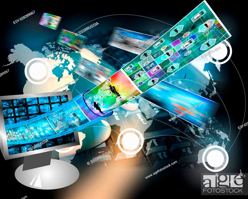 Stock Photo: Many abstract images on the theme of computers, Internet and high technology.