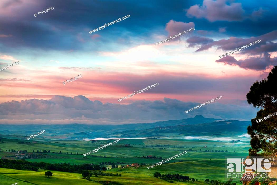 """Stock Photo: Sunrise over Val d""""""""Orcia."""