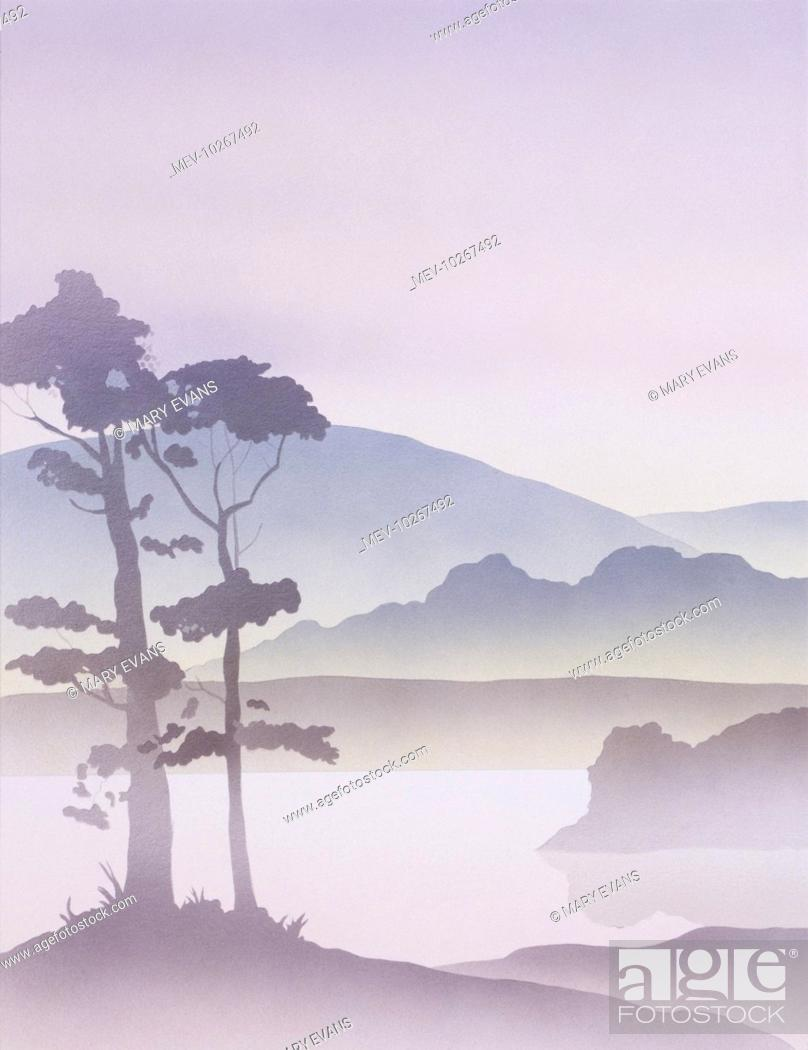 a fantasy scene of lakeside trees in silhouette against the backdrop